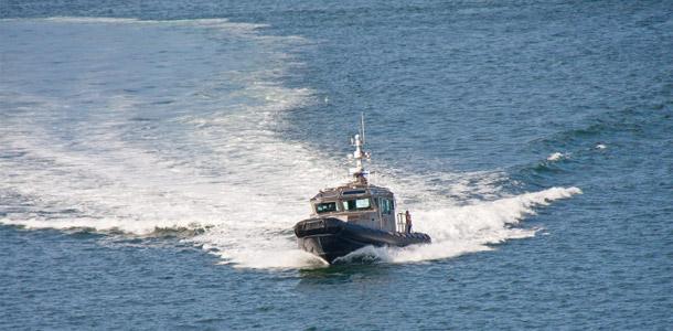 Sheriff boat patrolling the lake.